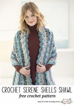 Crochet this easy serene shells shawl from my stylish crochet shawls free pattern roundup!