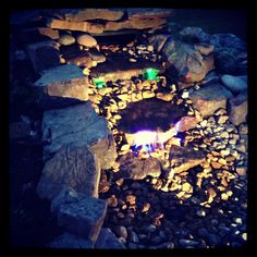 Pond-less water feature made with natural stone.....built by my husband.