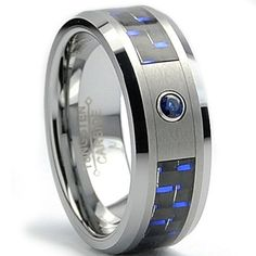 8MM Tungsten Carbide Ring BLUE SAPPHIRE .050 Carat & BLACK/ BLUE Carbon Fiber Inlay Wedding Band Sizes 7 to 13:Amazon:Jewelry