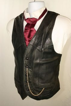 SOLD! $60 Black Leather Distressed Vest Men 42 USA MADE Steampunk SASS Cowboy Western 019 #Steampunk