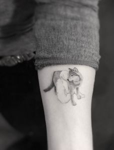 coolTop Women Tattoo - Woman and wolf by Doctor Woo... Check more at http://tattooviral.com/women-tattoos/women-tattoo-woman-and-wolf-by-doctor-woo/