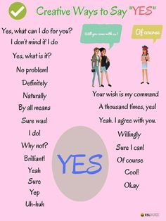 """Learn the useful list of creative ways to say YES in English. The word """"yes"""" can be interpreted in so many different ways, depending on your context, tone, and word choice. English Sentences, English Vocabulary Words, Learn English Words, English Phrases, English Idioms, English Lessons, English Learning Spoken, Teaching English Grammar, English Writing Skills"""