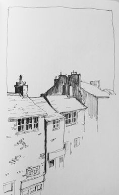 Moleskine sketch of some rooftops | par John Harrison, artist