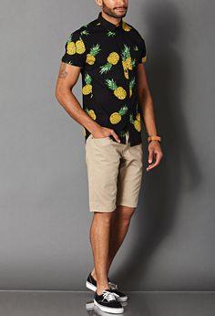 Pineapple Print Cotton Shirt | FOREVER 21 MEN