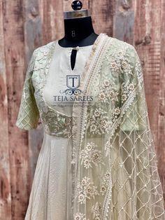 Teja Sarees, Heavy Dresses, Long Dresses, Indian Designer Outfits, Floor Length Dresses, Work Blouse, Dress Suits, Blouse Designs, Fashion Dresses