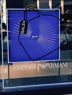 Emporio Armani® Sale Announcement – Fixtures Close Up Giorgio Armani, Emporio Armani, Window Clings, Outlet, Visual Merchandising, Close Up, Announcement, Windows, Ramen