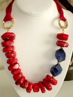 57ab065c3704 Ashira Rich RARE Chunky Red Coral and Luscious Blue by 650crissy