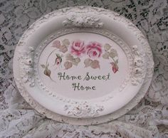 SALE Romantic Painted Sign Shabby Cottage Chic Roses Home Decor  Antique Ornate Detailed Frame WLV. $35.00, via Etsy.