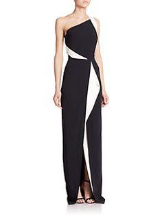 Roland Mouret - Lilyvick Contrast One-Shoulder Gown