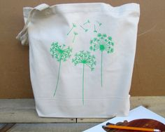 Dandelion Tote Bag 100 Organic Cotton Tote Book Tote by FrumpyWear, $12.00