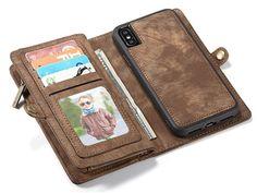 Iphone x case,iphone x wallet Leather case,detachable magnetic slim case,RFID blocking Card holder,credit card id cash flip zipper poccket case[2-in-1 detachable folio style] for men/women (brown)