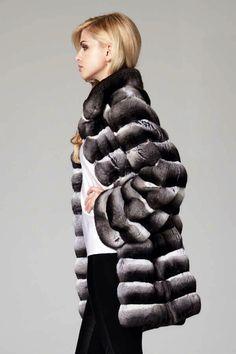 Lilly E Violetta Chinchilla Fur Coat