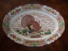 Vintage Turkey PLATTER Thanksgiving by MandaToryTreasures on Etsy, $25.00