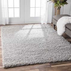 Nuloom Clay Alder Home Eggner Solid Silver Shag Rug x (Silver), Grey, Size x Inexpensive Area Rugs, Area Rugs Cheap, Cheap Rugs, Grey Shag Rug, Discount Area Rugs, Dry Carpet Cleaning, Rug Runners, Stair Runners, Fluffy Rug