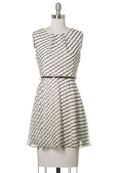 This adorable skater dress is fun and flirty. Featuring a trendy chevron pattern and belt. The dress is lightweight and fully lined. A versatile dress for all seasons.