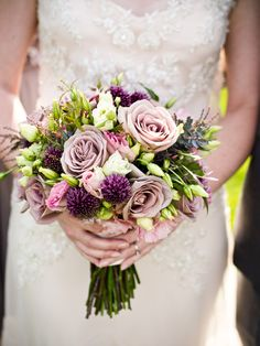 Rustic dusty plum bouquet | Photography: W Studios New York - www.wstudiosnewyork.com Read More: http://www.stylemepretty.com/tri-state-weddings/2014/04/24/vintage-bedell-cellars-vineyard-wedding/