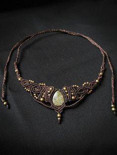 Goddess necklace. macrame necklace, tiara with unakite gemstone. Indian, asian, etnic, victorian, steampunk.: