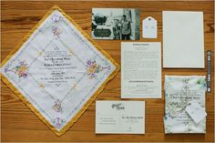 vintage wedding hankie invites | VIA #WEDDINGPINS.NET