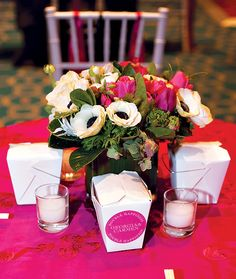 Possible Centerpiece idea - low floral arrangement in the center, with the fused glass candle holders around the flowers (in the place of the takeout boxes and votives)?