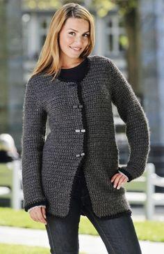 Hækl en flot, grå uldjakke | Familie Journal