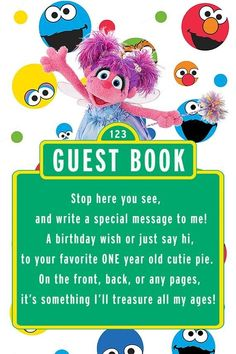 Sesame Street Abby Cadabby Guest Book 2 Year-Old Party Sign 2 Year Old Birthday Party Girl, Second Birthday Ideas, Monster Birthday Parties, Baby Boy First Birthday, Elmo Party, 1st Boy Birthday, First Birthday Parties, Birthday Party Themes, First Birthdays