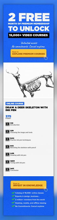 Draw a deer skeleton with ink pen Art, Crafts, Illustration, Drawing, Creative, Pen, Skeleton #onlinecourses #learningathomeactivities #onlinetrainingcourses   Drawing with an ink pen is a great way to make bold, interesting illustrations. In this class I'm going to take you through the process of drawing a deer skeleton using ink pen. We will cover finding an image and the tools we need to do thi...