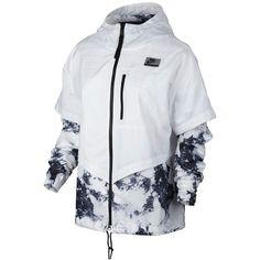 Nike International Printed Windbreaker ($140) ❤ liked on Polyvore featuring activewear, activewear jackets, white, nike sportswear, nike and nike activewear