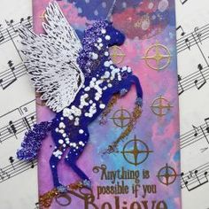 A magical unicorn stamp with stunning accessory stamps and an inspiring sentiment. 2017 Inspiration, Believe Quotes, Image Stamp, Magical Unicorn, Angel Wings, Pegasus, Unicorns, Mixed Media, Stamps
