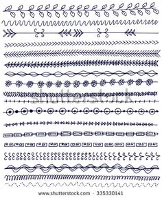 Hand drawn vector line border set and doodle element. Geometric vintage fashion pattern for your