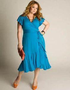 Moda Estilo Y Distinción Para Gorditas: Elegantes Vestidos -Color- Celeste en Tallas Espec...