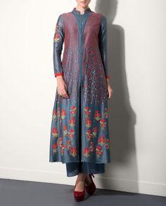 Smokey Blue Kurta Palazzo Set with Floral Embroidery