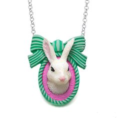 Awesome bow-dacious bunny rabbit necklace by LuxCups.  https://www.etsy.com/listing/209519473/easter-bunny-rabbit-necklace-bunny