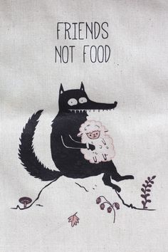 FRIENDS NOT FOOD wolf whit sheep, illustration print on canvas tote bag   #veganlifestyle #friendsnotfood #wolf #sheep #petsillustration