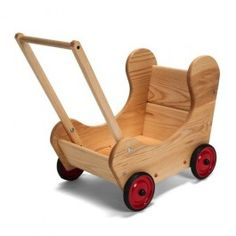Dolly's Wooden Doll Pram. Handcrafted in Maine of solid white pine and finished with natural linseed oil. Natural and beautiful!