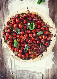 Oven Roasted Tomato Pizza with fresh basil