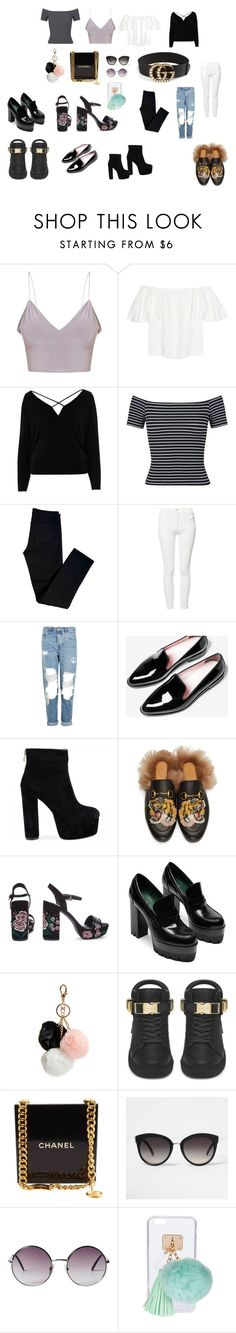"""""""clothing style"""" by aleromero2009 on Polyvore featuring Valentino, River Island, Miss Selfridge, J Brand, Mother, Topshop, Gucci, GUESS, BUSCEMI and Chanel"""