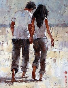 Impressionist artwork by Andre Kohn and other internationally recognized artists. Figurative oil paintings, drawings, sculpture and oversized paintings. Couple Drawing Images, Couple Drawings, Art Drawings, Surrealism Painting, Artist Painting, Figure Painting, Art Amour, Painting People, Beautiful Paintings