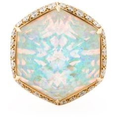 Stephen Webster opal cocktail ring ($8,250) ❤ liked on Polyvore featuring jewelry, rings, metallic, opal rings, statement rings, opal jewellery, metallic jewelry and pave cocktail ring