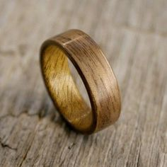 Walnut Bentwood Ring Lined with Myrtle - Handcrafted Wooden Ring. $110.00, via Etsy.