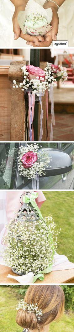 Tolle Ideen mit Schleierkraut für die Hochzeit. So wirds eine rustikale Vintage…