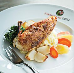 Slow-roasted chicken breast with lavender-honey glaze at Farmstead ...
