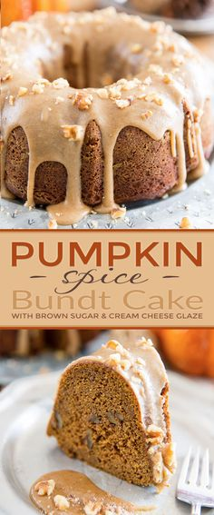 Pumpkin Spice Bundt Cake – With Brown Sugar and Cream Cheese Glaze – Blechkuchen rezepte Food Cakes, Cupcake Cakes, Muffin Cupcake, Pumpkin Bundt Cake, Pumpkin Dessert, Bundt Cake Glaze, Pumpkin Spice Cake, Simple Pumpkin Cake Recipe, Bundt Cakes