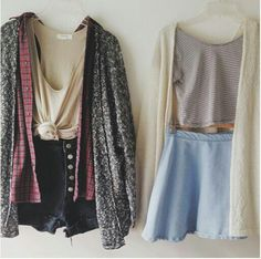 I like the outfit on the left a lot more but the one on the right is cute! I love the skirt