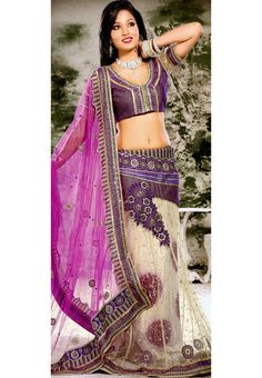 Magenta and Cream Net and Brasso Lehenga Style Saree With Blouse