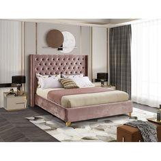 Room Ideas Bedroom, Bedroom Furniture Sets, Bed Furniture, Bedroom Sets, Bedroom Designs, Tufted Bed Frame, Velvet Bed Frame, Grey Velvet Bed, Pink Headboard
