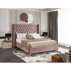 Small Girls Bedrooms, Pink Bedrooms, Small Room Bedroom, Bedroom Sets, Dream Bedroom, Tufted Bed Frame, Velvet Bed Frame, Pink Headboard, Bedroom Furniture Sets