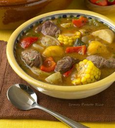 Sancocho- typical 'comfort' food in Puerto Rico Sancocho. It is a wonderful thick stew here they are using beef and oft times it has ad rice in it as well. A more traditional one will have calabaza (pumpkin) in place of butternut squash Comida Boricua, Boricua Recipes, Mexican Food Recipes, Soup Recipes, Cooking Recipes, Ethnic Recipes, Healthy Recipes, Steak Recipes, Puerto Rican Cuisine