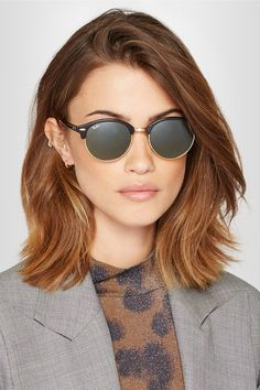 Brown Hair Colors Discover Black Clubround acetate and gold-tone sunglasses Blonde Hair With Roots, Brown Blonde Hair, Brown Lob, Medium Brown, Black Hair, Medium Hair Styles, Short Hair Styles, Plait Styles, Hair Medium