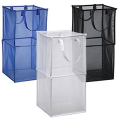 Double Folding Mesh Cube:  Our Double Folding Mesh Cube offers a generous capacity for storing laundry, toys or stuffed animals. Nylon handles make it easy to transport. Made from a durable mesh fabric, it folds flat for compact storage.