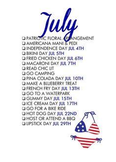 July Seasonal Living List